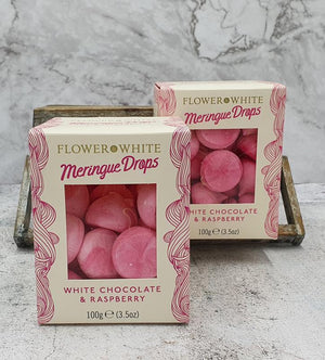 Load image into Gallery viewer, Flower & White White Chocolate & Raspberry Meringue Drops 150g