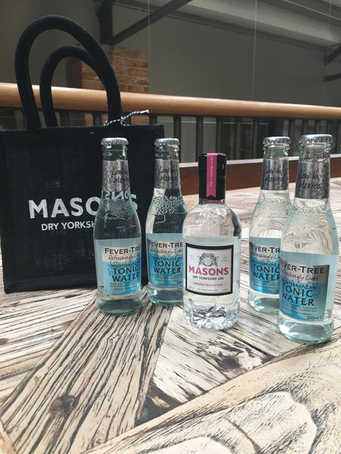 Masons Peppered Pear Gin & Tonic Pack - 20cl Gin & 4 Fever Tree Tonics 200ml