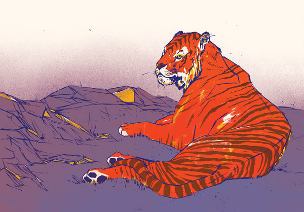 Caspian Tiger Print | Lost Fauna Series | A3 | Original Illustration Poster | Digital Print