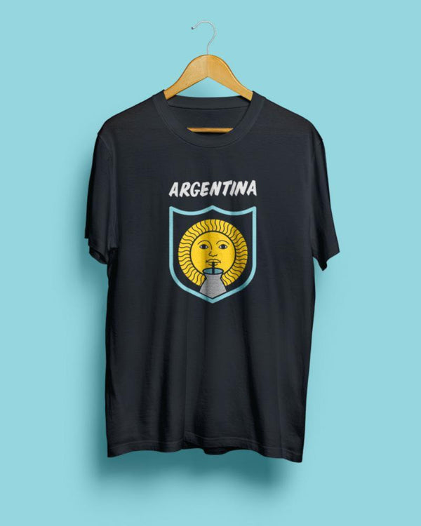 Argentina tee, black steel unisex graphic t-shirt, design of sun drinking Yerba mate