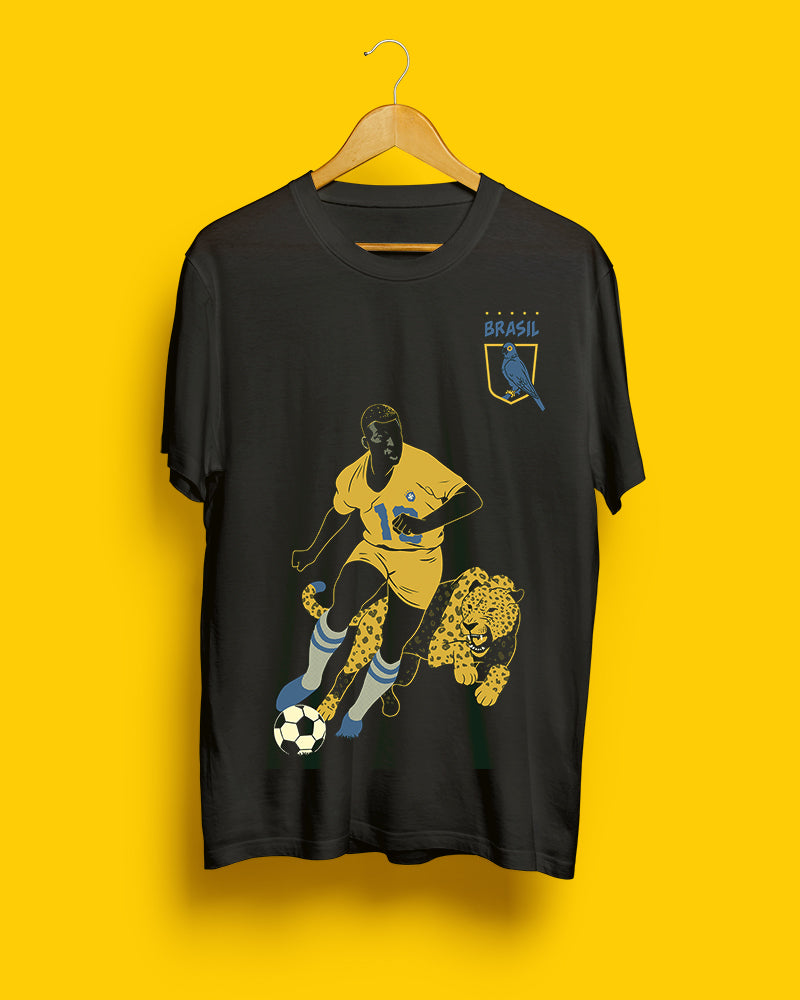 70% OFF SALE || Pelé, Brazil || Black Steel Unisex T-Shirt