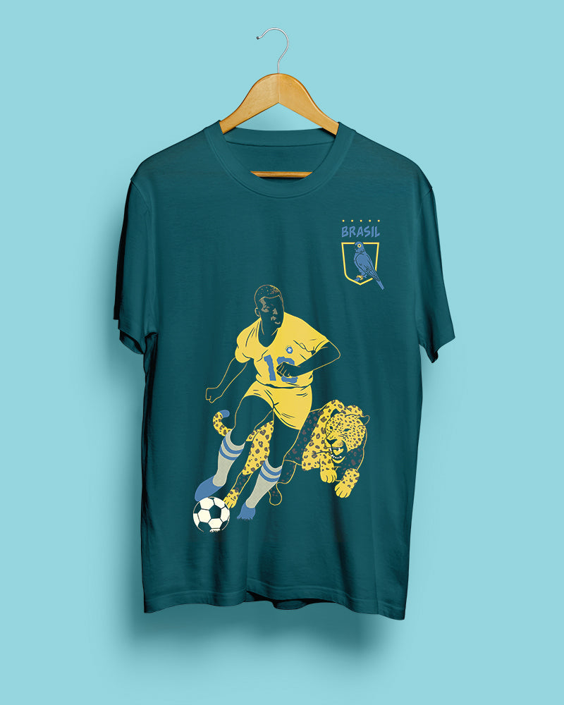 70% OFF SPRING SALE || Pelé, Brazil || Teal Green Unisex T-Shirt