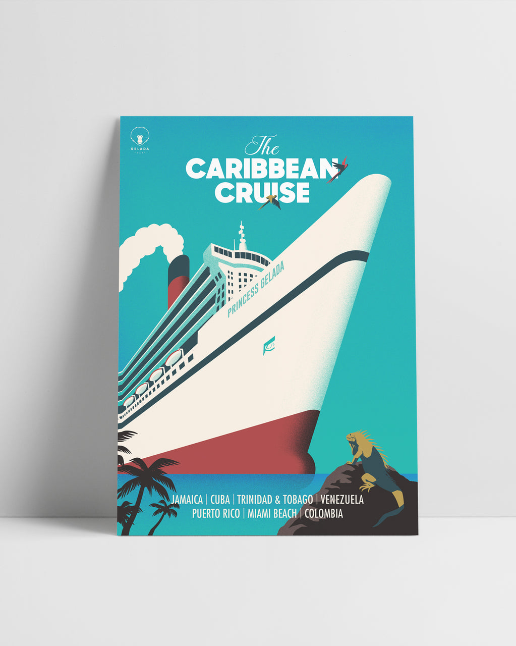Caribbean Cruise | Original Illustration Poster, DIgital Print