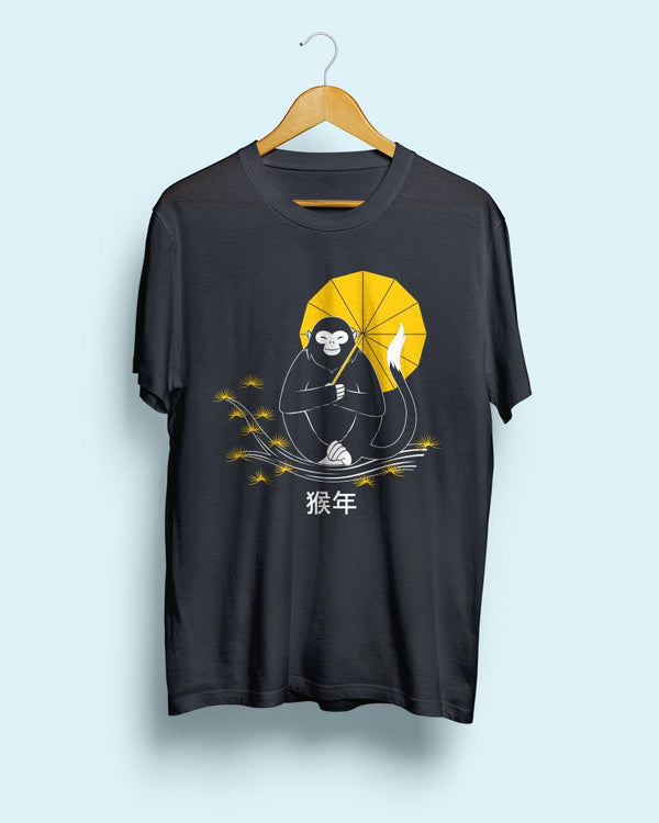 Zen Monkey (Chinese Zodiac) || Black Steel Unisex T-Shirt