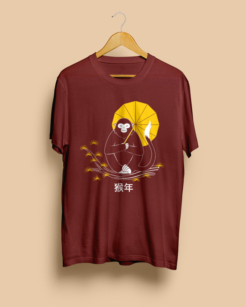 Zen Monkey (Chinese Zodiac) | Burgundy Red Unisex T-Shirt