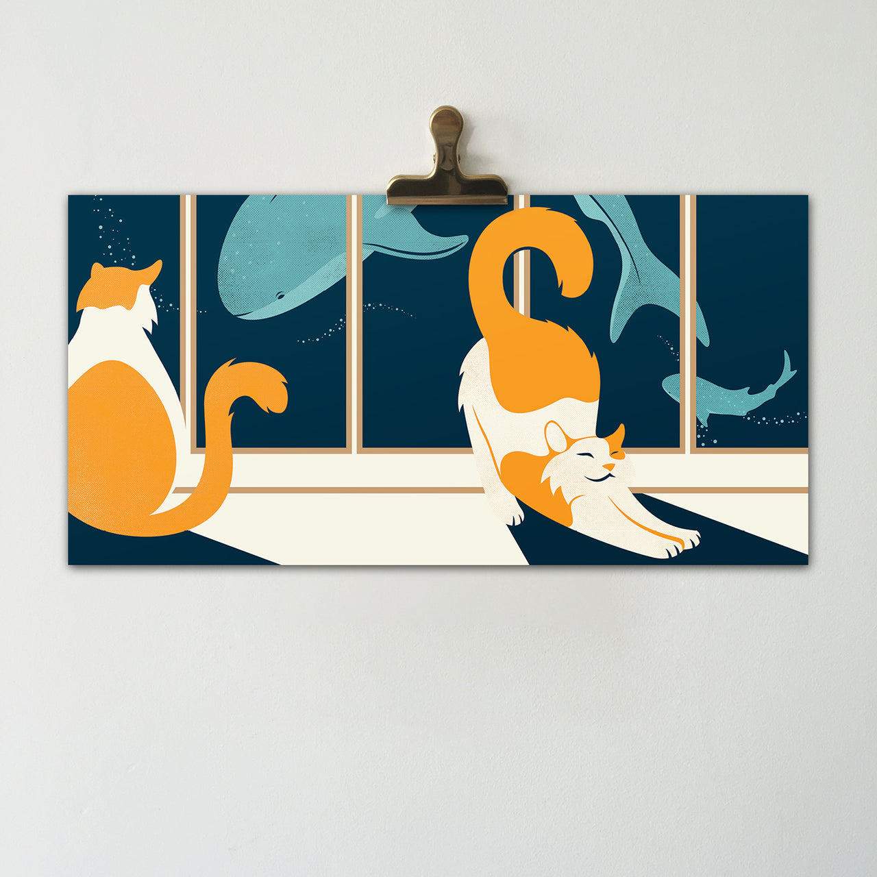 Aquarium Cats || Original Illustration Poster, Digital Print