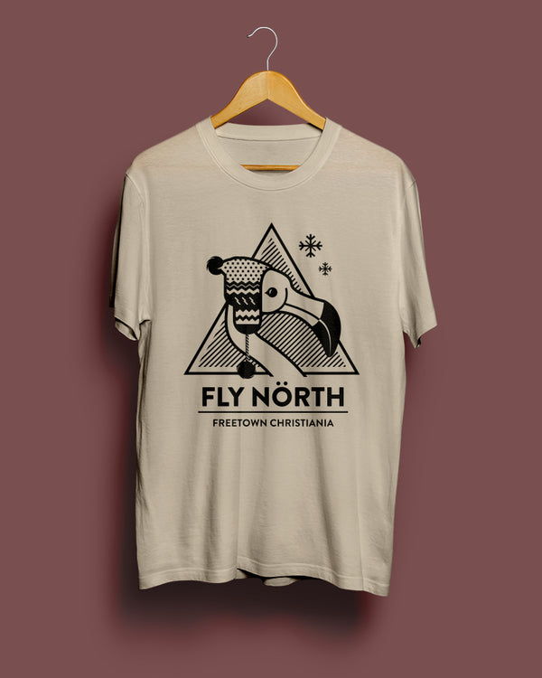 Fly North Arctic Flamingo || Sand Grey Unisex T-Shirt