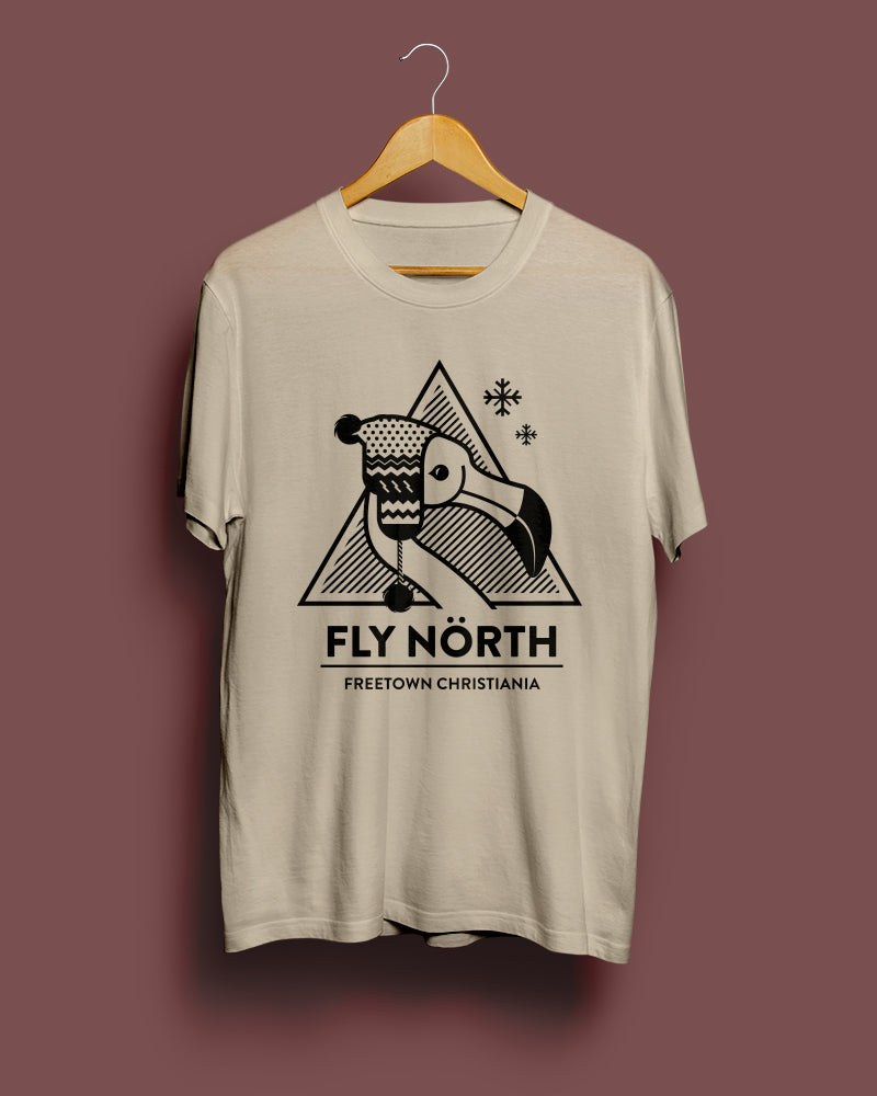 30% OFF HOLIDAY SALE | Fly North Arctic Flamingo | Sand Grey Unisex T-Shirt