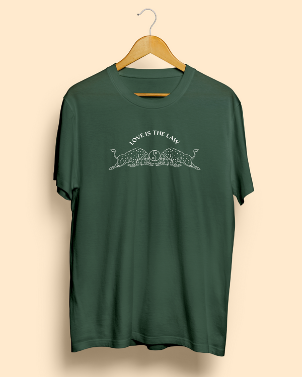Love Is The Law Green Tee by Magnum Opus