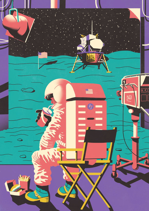 30% OFF HOLIDAY SALE|| Moon Landing Outtakes || A3 Original Illustration Poster, Digital Print