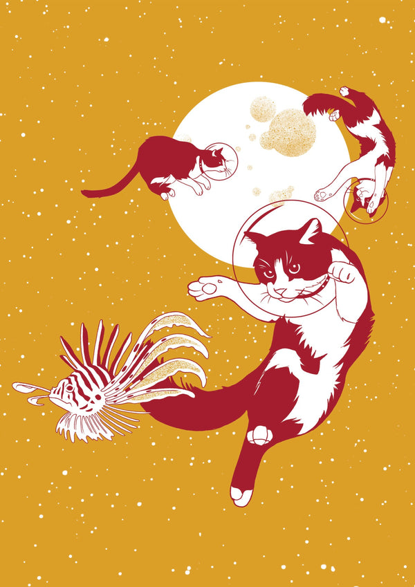 Space Cats, Voyages Extraordinaires || A3 Original Illustration Poster, Digital Print