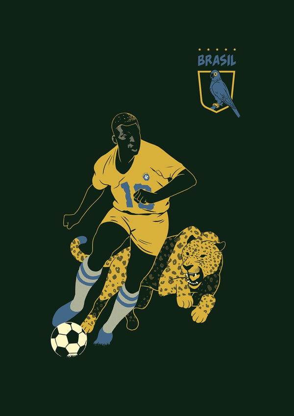 Pelé, Brazil || A3 Original Illustration Poster, Digital Print