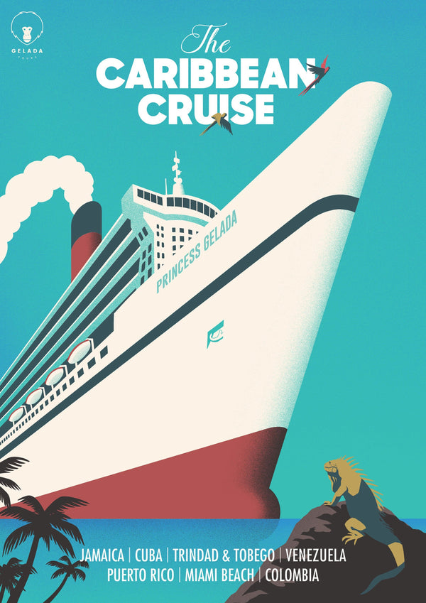 30% OFF HOLIDAY SALE || Caribbean Cruise || A3 Original Illustration Poster, DIgital Print