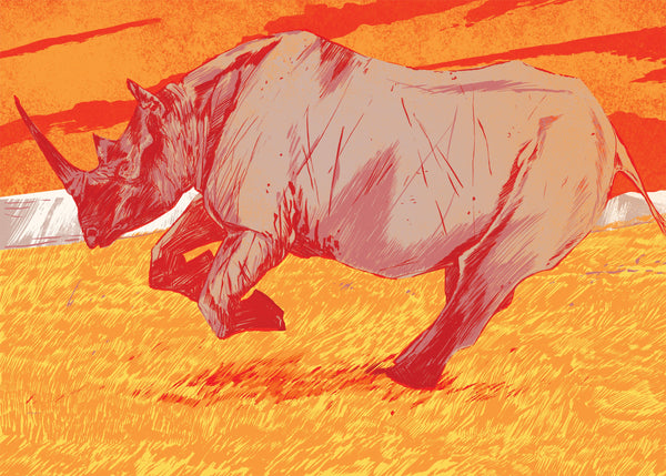 Western Black Rhinoceros Print | Lost Fauna Series | A3 | Original Illustration Poster | Digital Print
