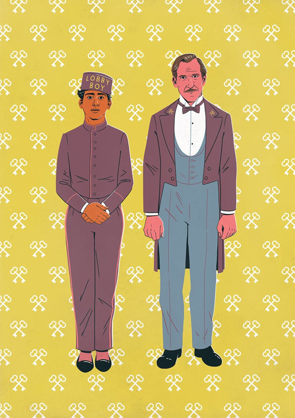 The Grand Budapest Hotel, The Bromance Series || A3 Original Illustration Poster, Digital Print