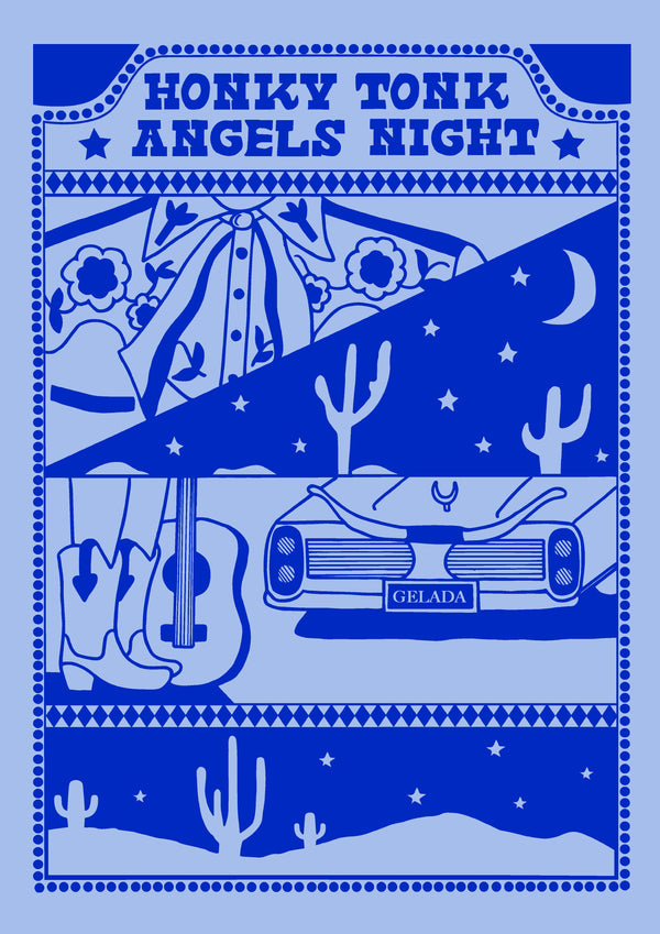 Honky Tonk Angels Night Print | Blue