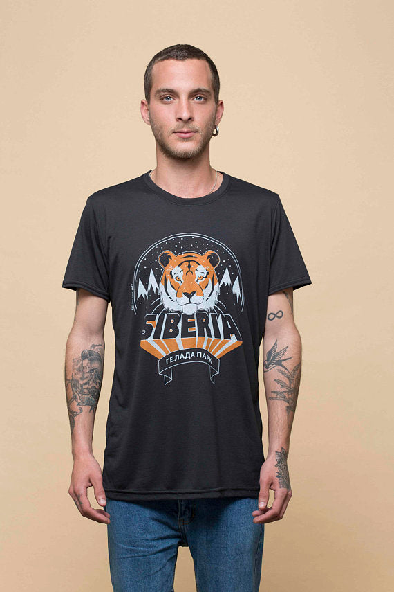 Siberian Tiger | Black Steel Unisex T-Shirt