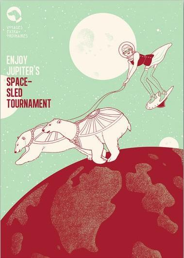 Jupiter Polar Bear Sled Tournament, Voyages Extraordinaires || A3 Original Illustration, Digital Print