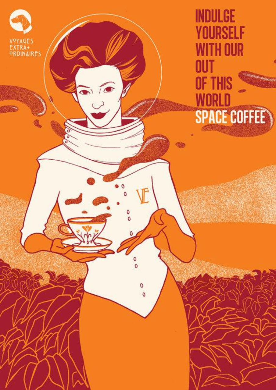 Space Coffee, Voyages Extraordinaires || A3 Original Illustration Poster, Digital Print