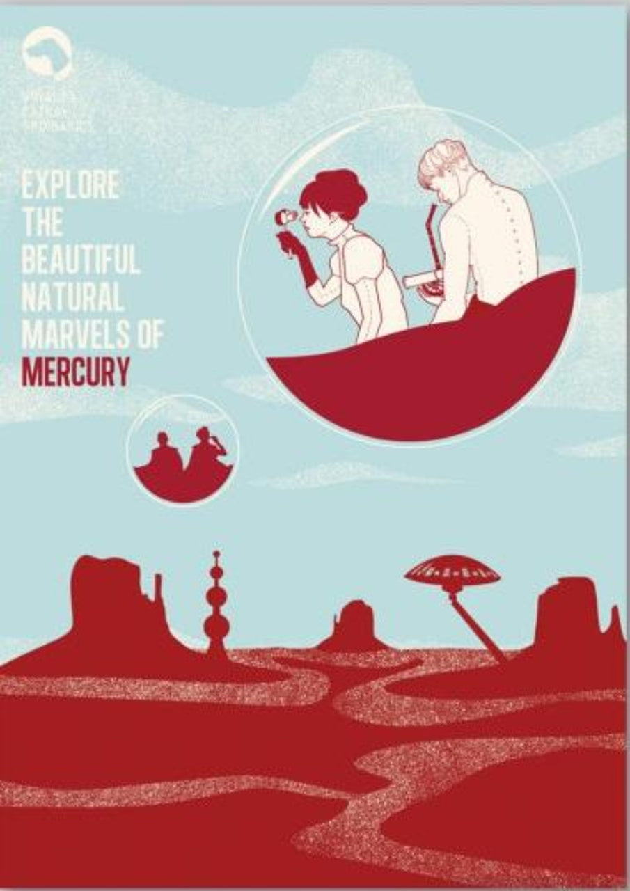 30% OFF HOLIDAY SALE | Explore Mercury, Voyages Extraordinaires || A3 Original Illustration Poster, Digital Print