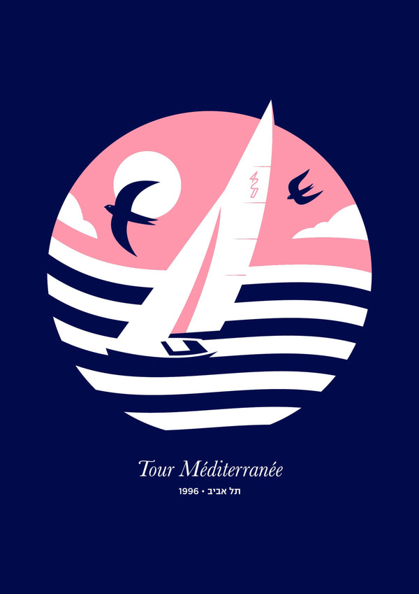 Mediterranean Tour 4.20 [Navy Blue] | Original Illustration Poster, Digital Print