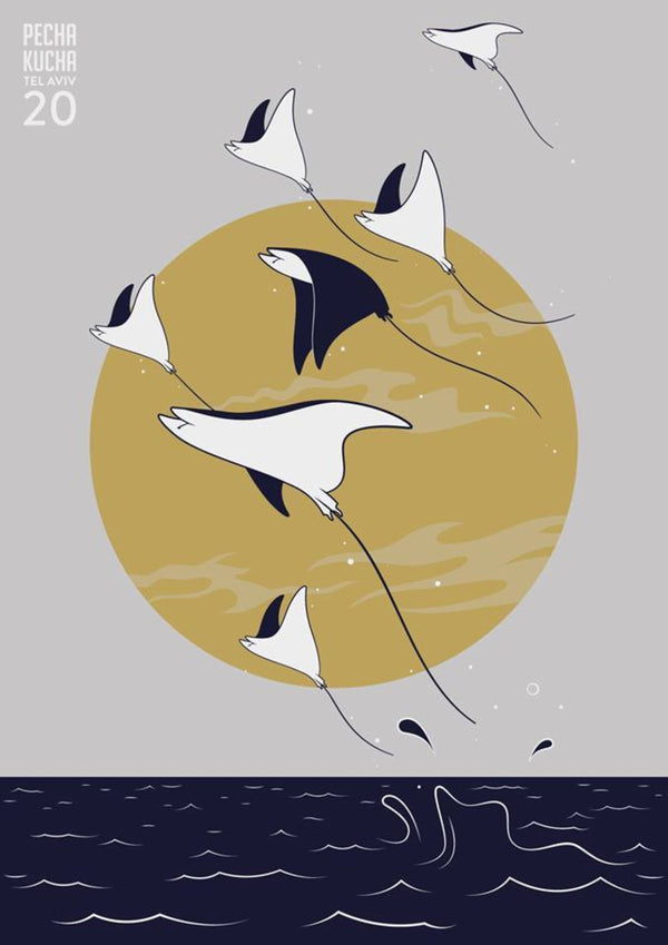 Pecha Kucha Manta Rays || A3 Original Illustration Poster, Digital Print