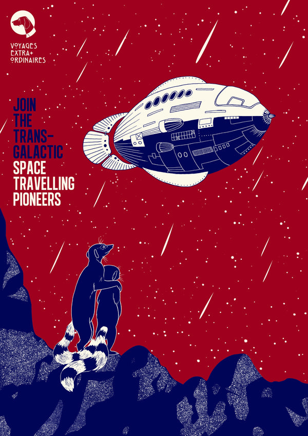 Space Traveling Pioneers, Voyages Extraordinaires || A3 Original Illustration Poster, Digital Print