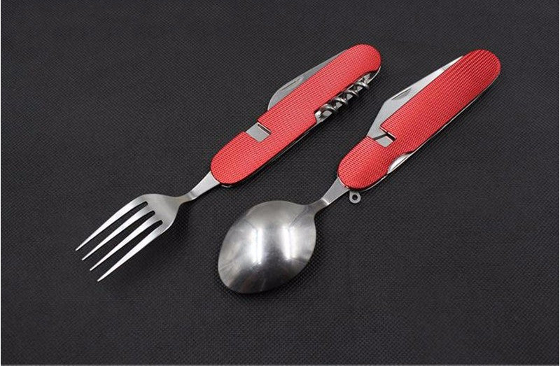 4 in 1 Folding Stainless Steel Tableware Multi Tool for Camping