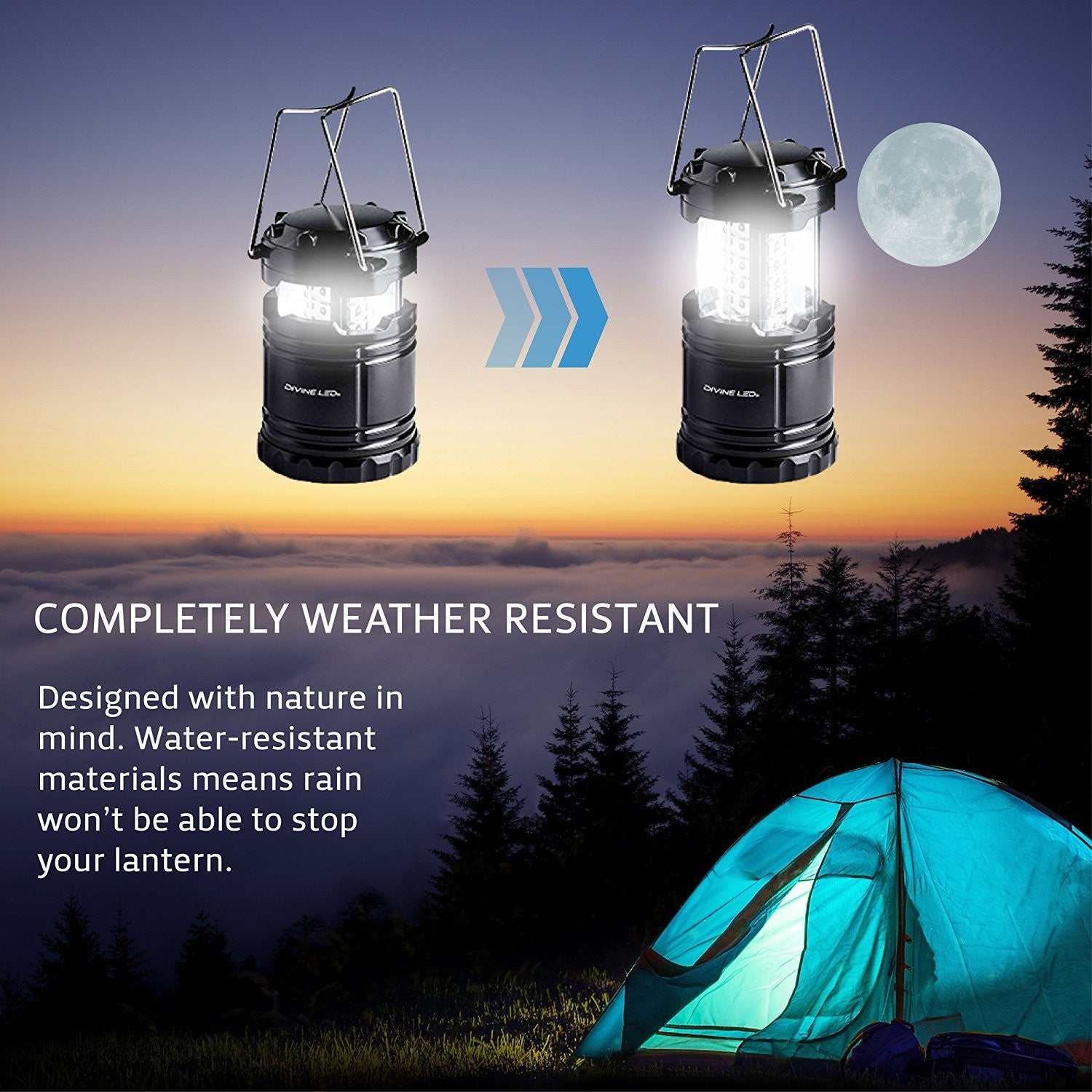 Divine LEDs Bright 2 Pack Portable Outdoor LED Camping Lantern, Black, Collapsible