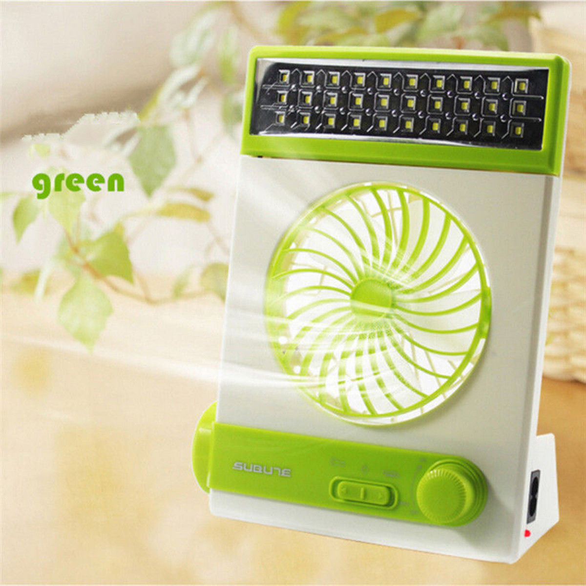 Rechargeable Solar Power/AC 2-in-1 Camping Cool Fan Light Tent LED Lantern Cooler