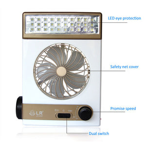 2 in 1 Camping Lantern with Fan,New Solar Power//AC Camping Cool Fan Light Tent LED Lantern Cooler