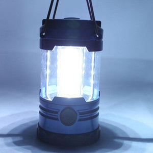 12 LED Portable Camping Camp Lantern Light Lamp with Compass-Blue LW