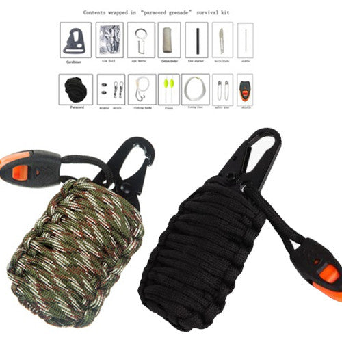 14-in-1 Set Outdoor Camping Hiking Paracord Survival Rescue Grenade Tool Kit