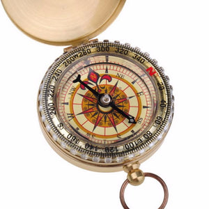 New Outdoor Camping Hiking Portable Brass Pocket Golden Compass Navigation