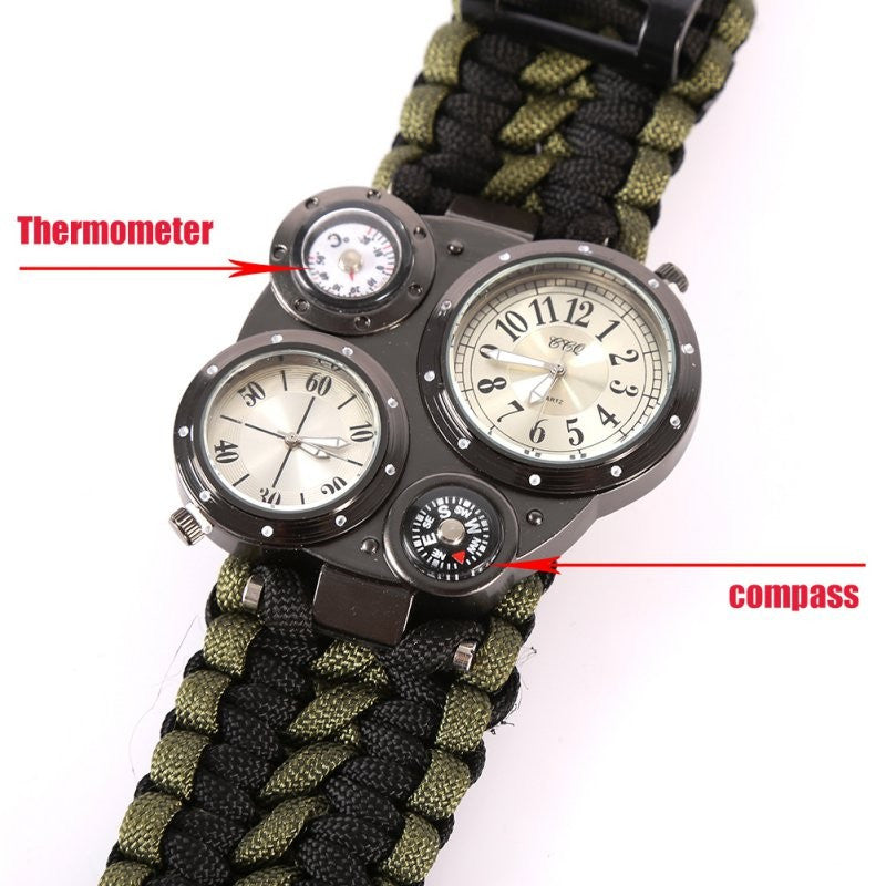 Outdoor Survival Bracelet Gear 6 in 1 Survival Flint Fire Starter Survival Gear Buckle Watch Paracord Rescue Rope