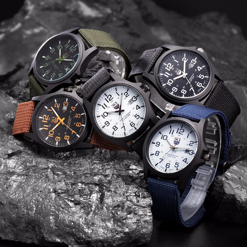 2016 New Famous Brand XINEW Men Date Quartz Watch Army Soldier Military Canvas Strap Analog Watches Sports Clock Wristwatches