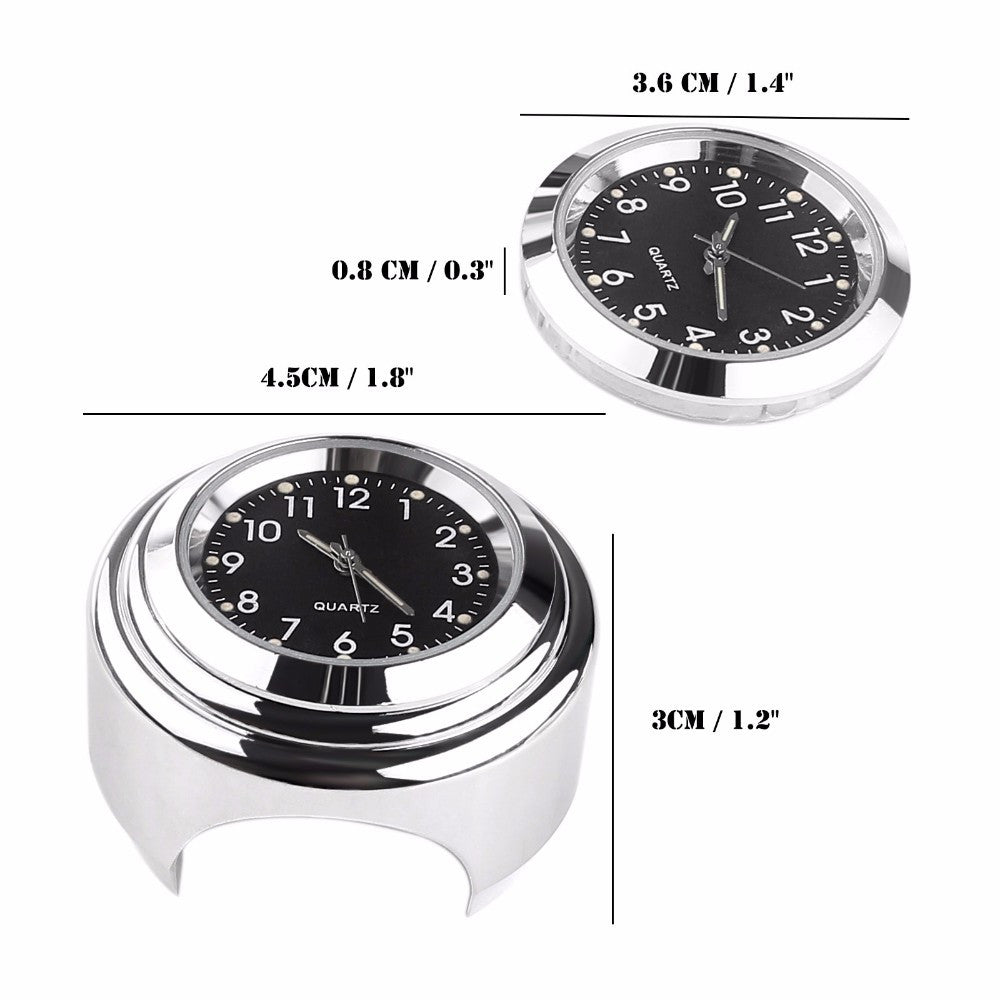 "Waterproof 7/8"" 1"" Chrome Motorcycle Handlebar Mount Quartz Clock Watch for Harley Davidson Honda Yamaha Suzuki Kawasaki"