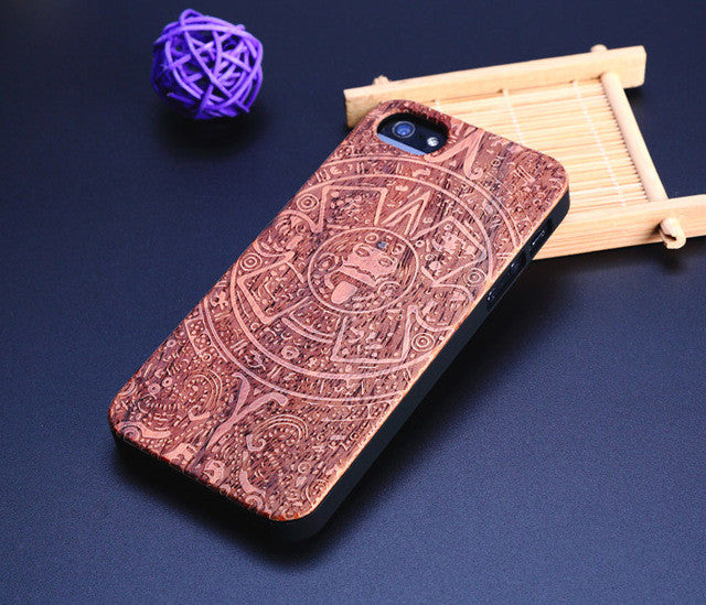 Phone Case for iPhone 5 Natural Genuine Walnut Bamboo Carving Wood Slice and Durable Plastic Edges Case for iphone 5S SE