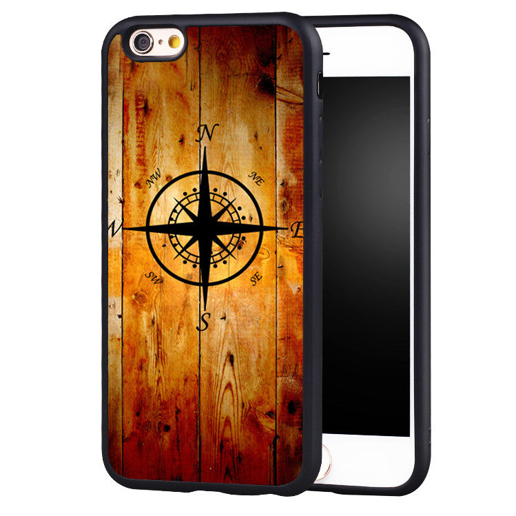 Retro Nautical Compass Knotted Style Printed Soft Rubber Phone Cases For iPhone 6 6S Plus 7 7 Plus 5 5S 5C SE 4 4S Back Cover