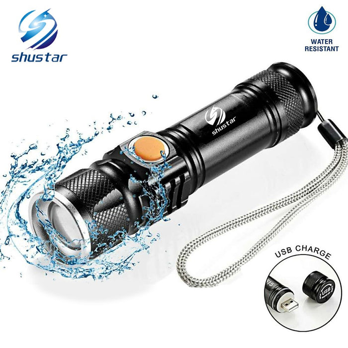 USB Inside Battery Cree XML-T6 Powerful 2000LM Led Flashlight Portable Light Rechargeable