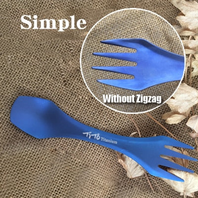 Outdoor Camping Picnic Titanium Spoon & Fork