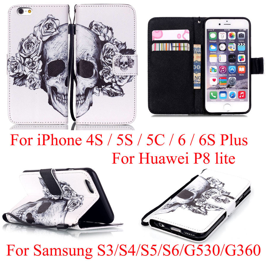 Skull Flip Leather Wallet Cover Case