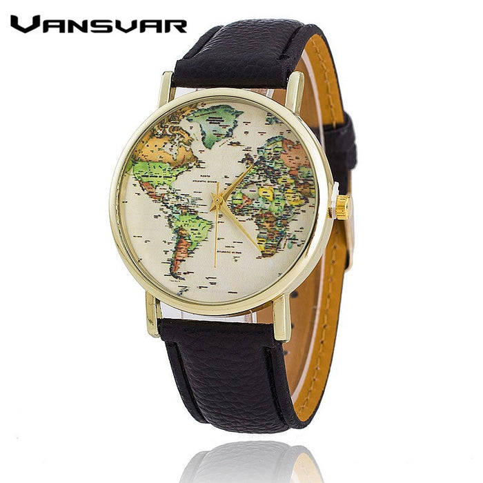 Vansvar Leather Strap World Map Watch