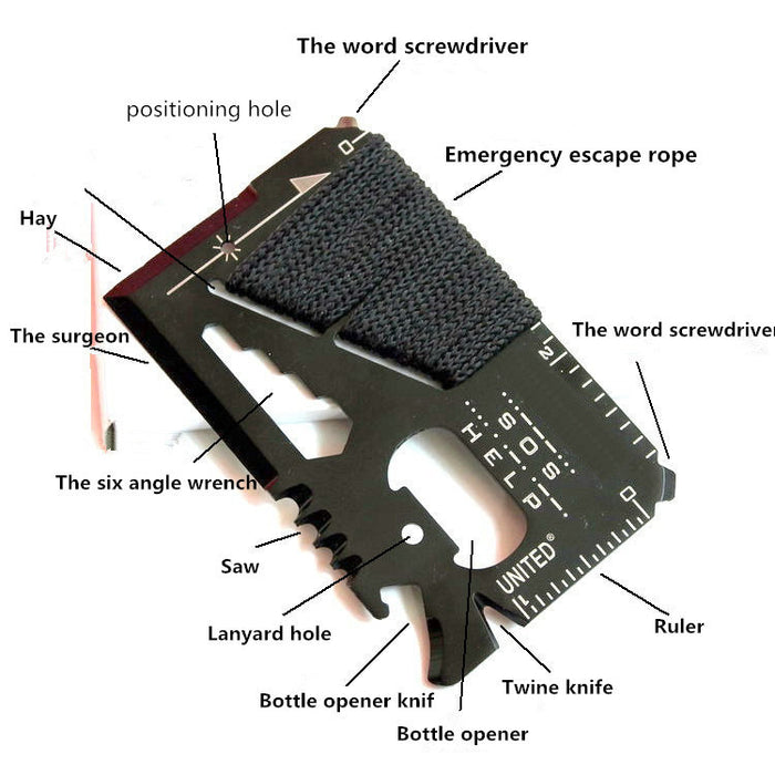 Outdoor multi-purpose knife survival tool card