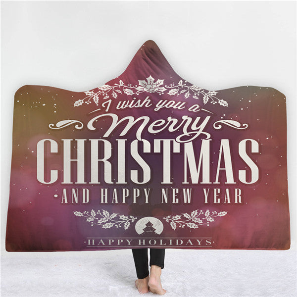 Merry Christmas & Happy New Year Hoodie Blanket