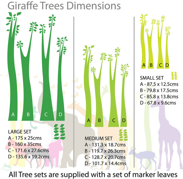 Giraffe Trees, Leaves And Butterflies Wall Stickers