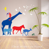 Nine Safari Animal Wall Stickers