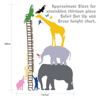 Personalised Safari Height Chart - 13 piece