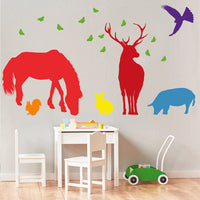 Seven British Forest Animal Wall Stickers