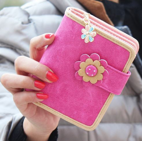 Pink Floral Wallet Girls Coin Purse